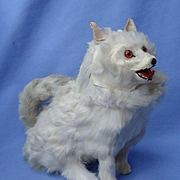 antique fur Spitz Samoyed salon dog companion for French fashion doll Germany 9""