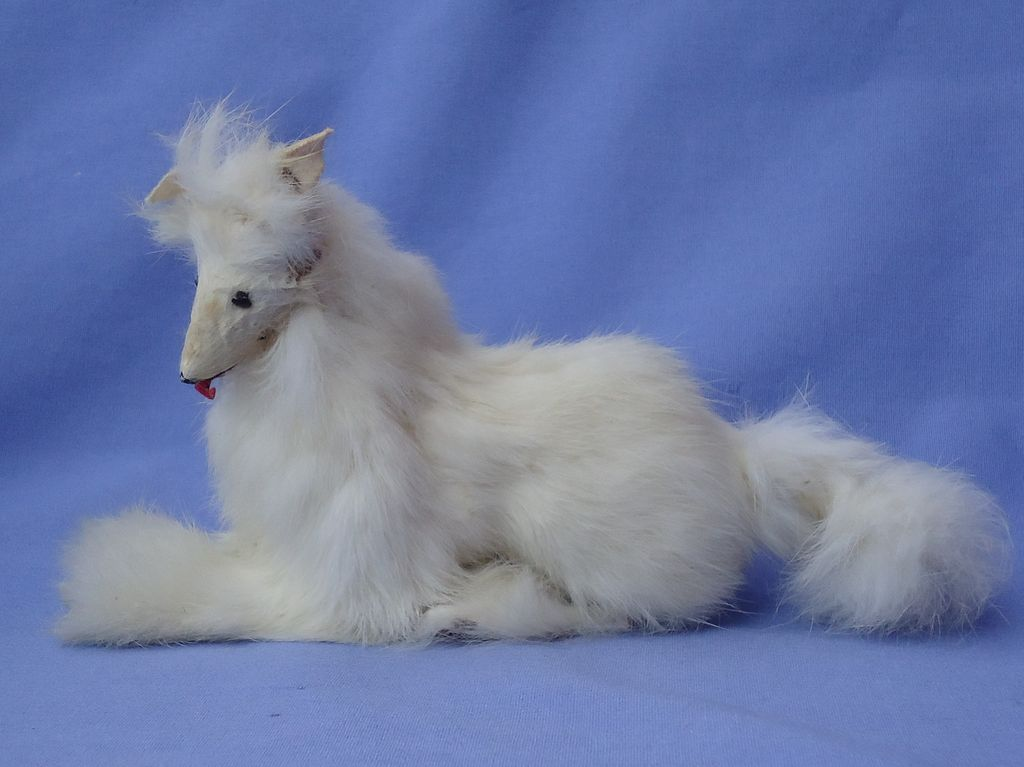 vintage fur Borzoi Spitz  French fashion doll 7""