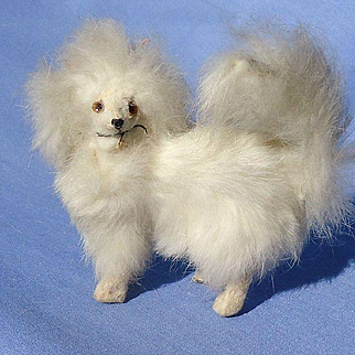 antique fur Pomeranian Spitz Samoyed salon dog French fashion doll Germany label 3""