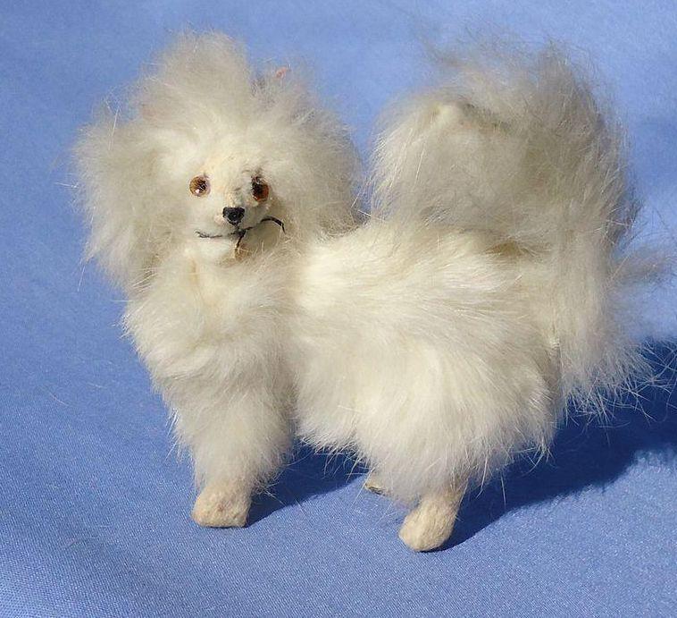 "antique fur Pomeranian Spitz Samoyed salon dog French fashion doll Germany label 3"""