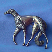 Art Deco 1920s sterling silver BORZOI pin marked