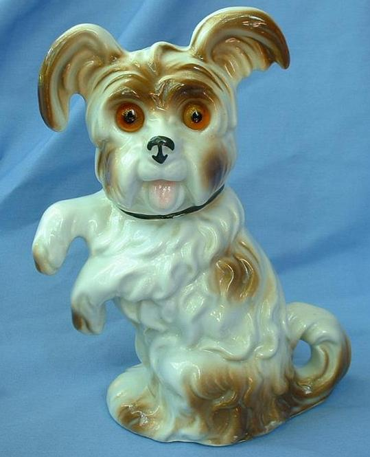 1940s SKYE/SILKY/SCOTTY terrier Briard dog perfume lamp Germany 8""
