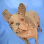 "Victorian dog pull toy 10"" FRENCH BULLDOG German"