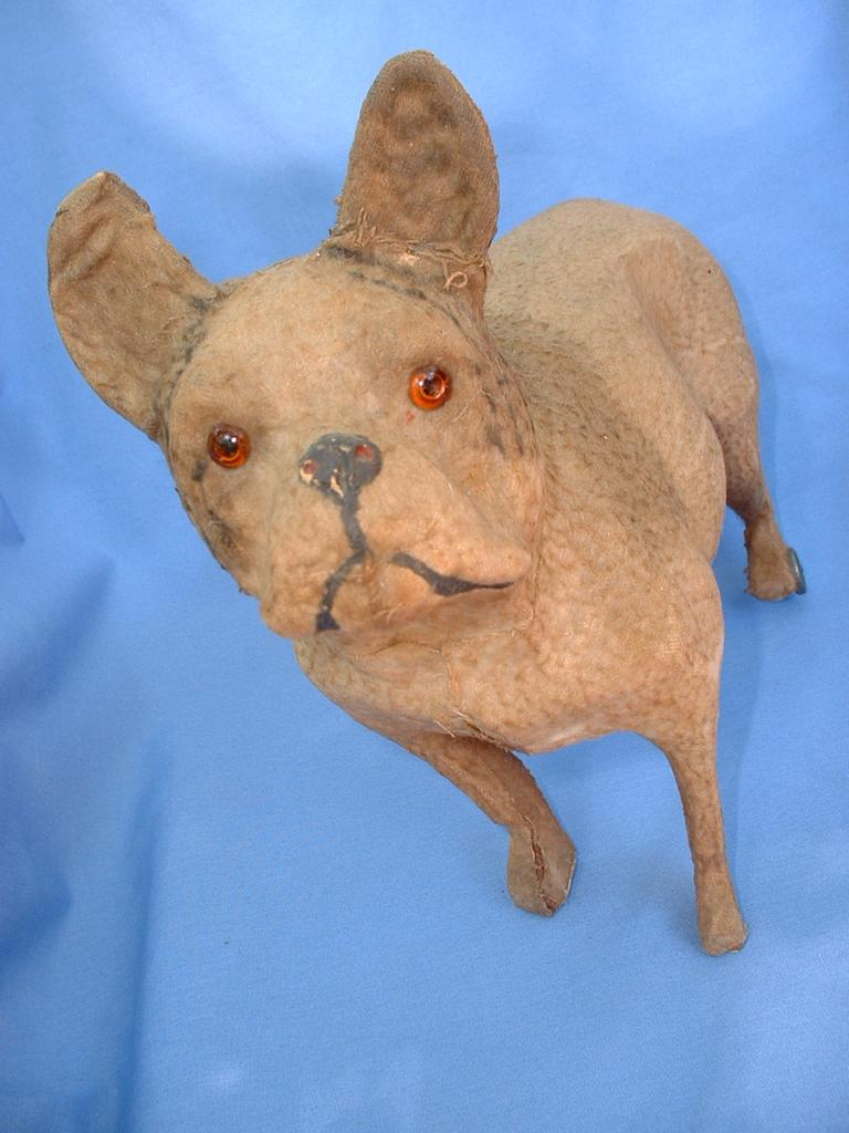 "Victorian dog pull toy 10"" FRENCH BULLDOG German"