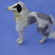 1940s fur dog Borzoi 4 French fashion doll Germany label 5""