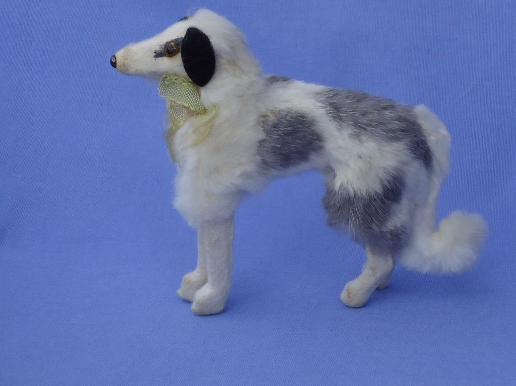 "1940s fur dog Borzoi 4 French fashion doll Germany label 5"""