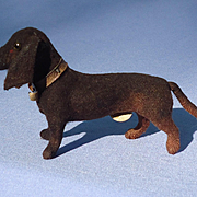 1940s black tan Dachshund 4 French fashion doll Germany