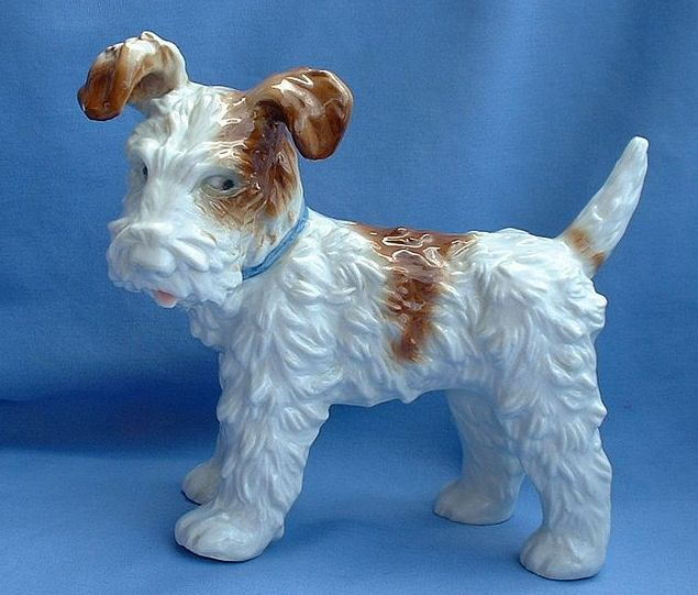 """1940s Fox Terrier Jack Russell dog USZ Hutschenreuther Germany 8"""""""