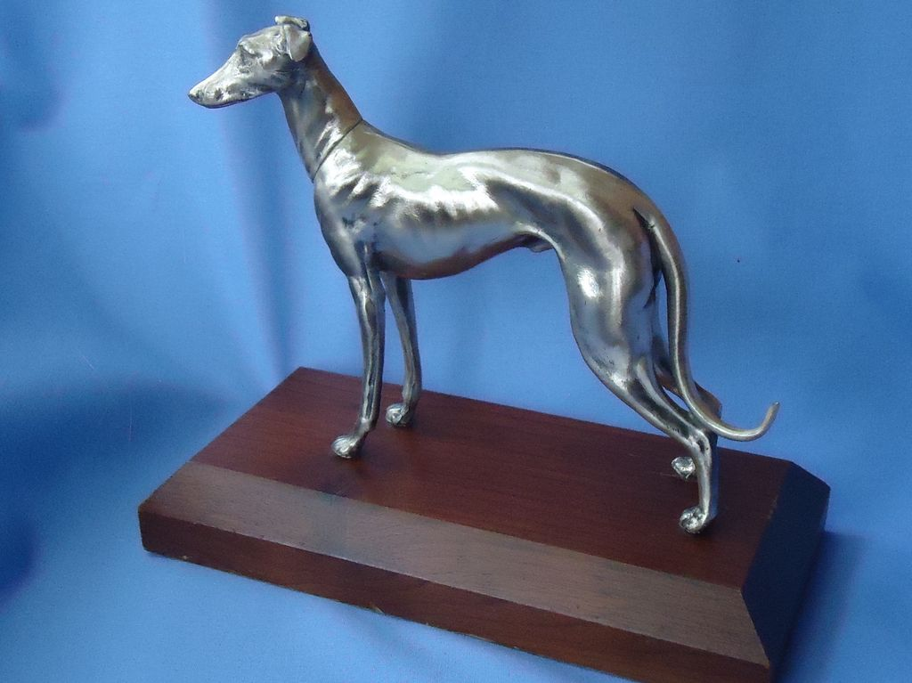 art deco silver plt Italian greyhound Whippet dog Weidlich WB 8""