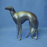 art deco silver metal  pewter Borzoi 6""