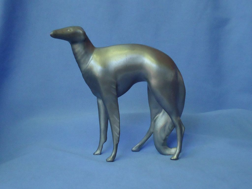 "art deco silver finish metal Borzoi 8"""