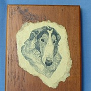 nice wood Borzoi plaque 7""
