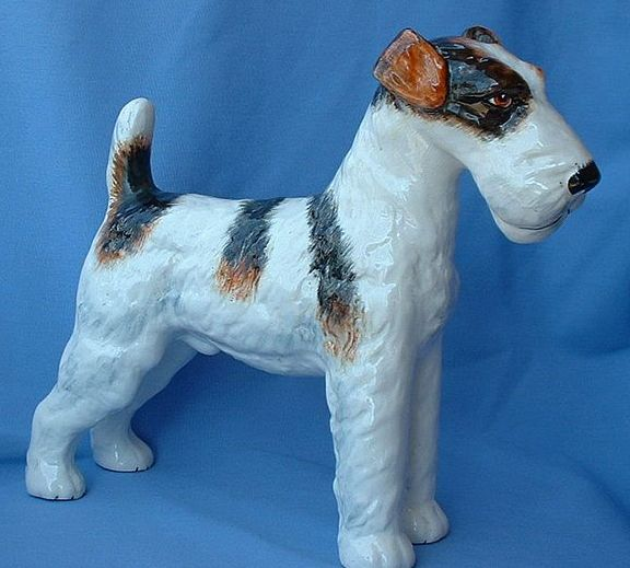 "1950s  12"" Fox terrier Jack Russell dog Wedgwood England"