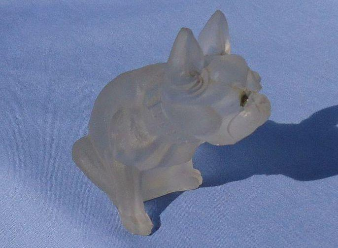 frosted glass French Bulldog 3""