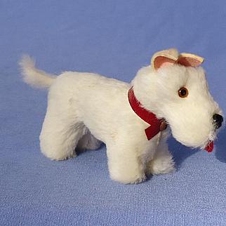 "antique Germany fur Scottish terrier Scotty salon dog 4"" French fashion doll label"