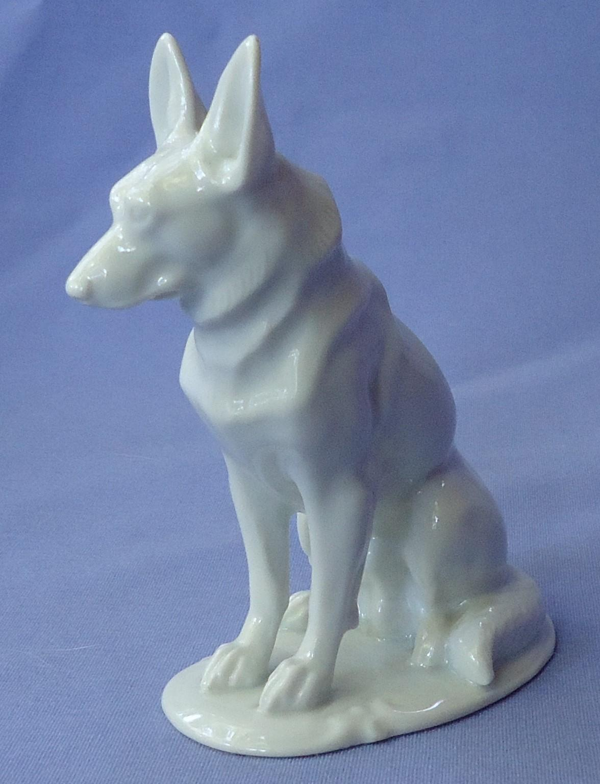 1930s white German Shepherd Rosenthal Germany 4""