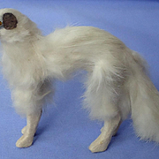 "6"" antique German fur Borzoi for French fashion doll"