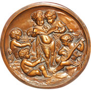 Vintage Bronze Plaque With Five Cherub or Putti Musicians