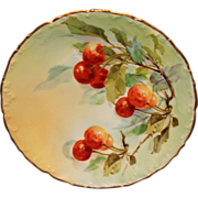 Hand Painted T & V Limoges Plate with Cherries