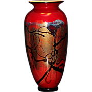 "17"" Nourot Red Satin Art Glass Vase"