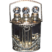 Lovely French Crystal Three Perfume Bottle in Silver Handled Holder