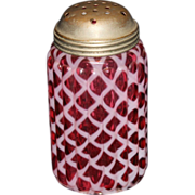 Northwood Ribbed Lattice Cranberry Opalescent Sugar Shaker