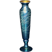 "Lundberg Studios Threaded Art Glass Vase 12"""