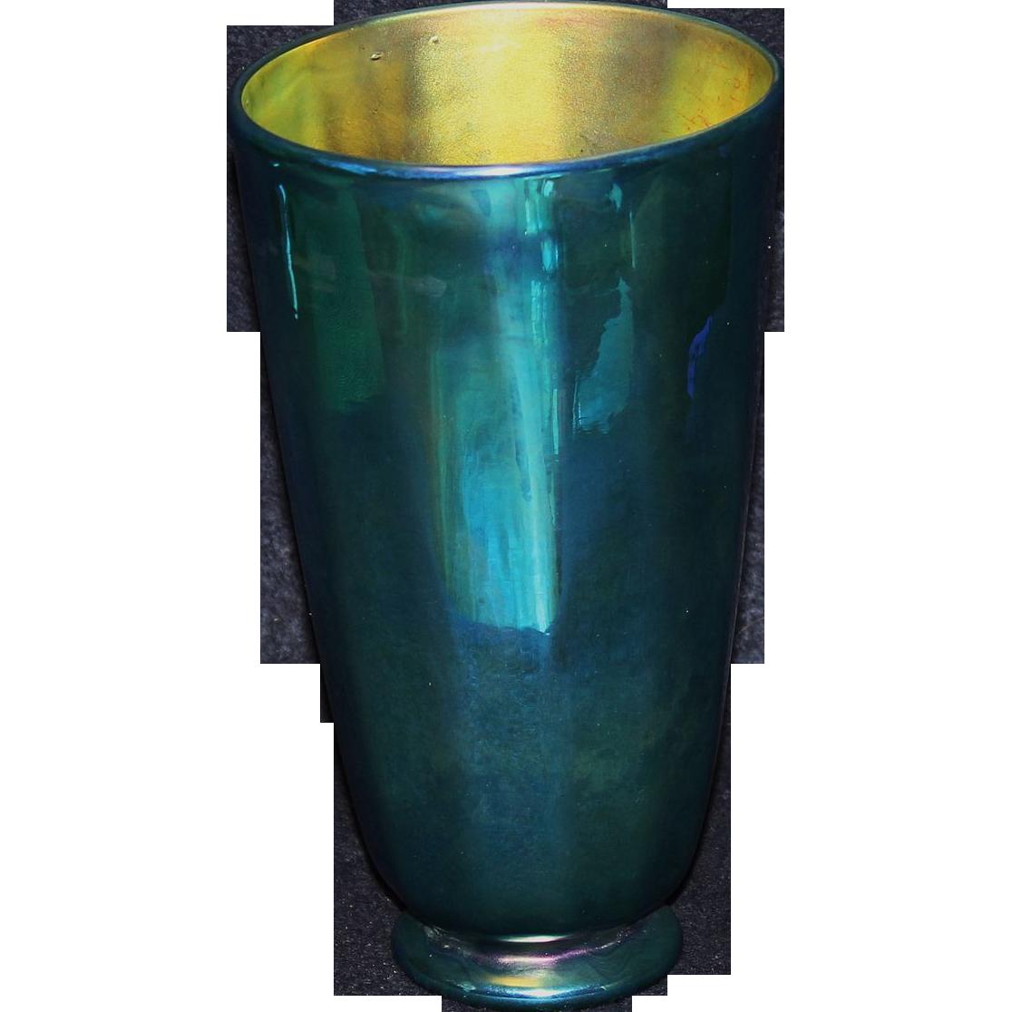 Lundberg Studios Art Glass Blue Aurene Vase From Mosaics On Ruby Lane