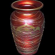 Correia Threaded King Tut Pattern Art Glass Vase