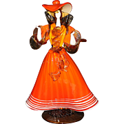Mid-Century Venetian Glass Woman Figure in Orange Dress