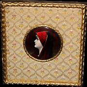 Lovely Artist Signed Limoges Enamel Miniature Portrait of St Fabiola