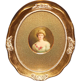 Handpainted Artist Signed Portrait Plaque of Young Woman