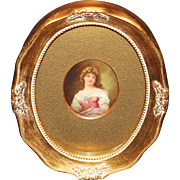 Miniature Portrait of Young Woman Signed Leslie Johnson