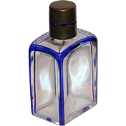 Striking Baccarat Sapphire Trimmed Glass Perfume/Scent Bottle