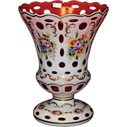 "Gorgeous Bohemian/Czech Overlay Vase-Cut To Cranberry 14"" High"