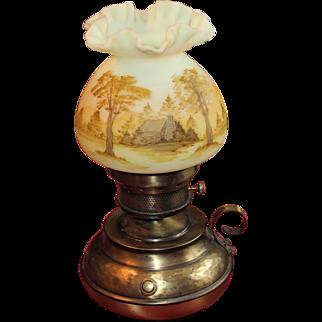 Fenton Hand Painted Burmese Lamp-Log Cabin Scene