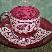 Moser Enamel Lace Cranberry Demitasse Cup & Saucer