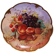 Stunning Hand Painted Limoges Signed Still Life Charger