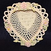 Belleek Rose of Tralee Heart Shaped Basket