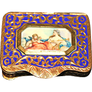 Beautiful Made In Italy Enameled Portrait Compact-Aphrodite and Eros