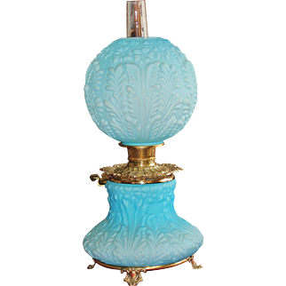 Large Savannah Rose Blue Satin Glass Gone With The Wind Lamp