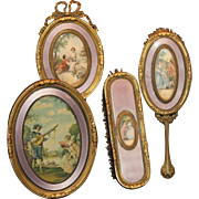 French Guilloche Portrait Dresser Set-4 Pieces Ormolu Trim