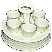Unusual Belleek Green Tint Egg Cup Stand-6 Egg Cups Green Mark