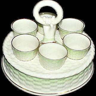 Unusual Belleek Green Tint Egg Cup Stand-6 Egg Cups Green Mark