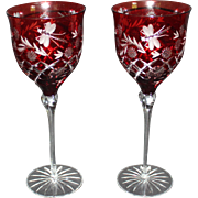 Stunning Ajka Ruby Dragonfly Goblet -  Set of Two