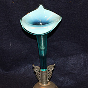 Blue Opalescent Single Horn Epergne