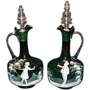 Pair of Mary Gregory Decanters