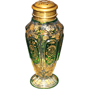 Moser Green Cabochon Gold Enameled Sugar Shaker