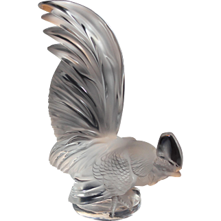 Large Lalique Rooster Hood Ornament/Sculpture