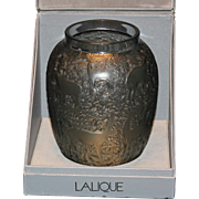 """Lovely Lalique """"Biches"""" Deer in Forest Smoke Colored Vase in Box, COA"""